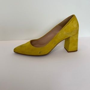 Frank & Oak Yellow gallery block heel pumps 7.5